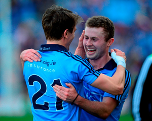Dublin's Jack McCaffrey, right, and Michael Fitzsimons celebrate after the game