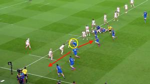 Leinster work the play after a lineout just outside the Ulster 22. Byrne has options but he decides to carry hard, which fixes two defenders