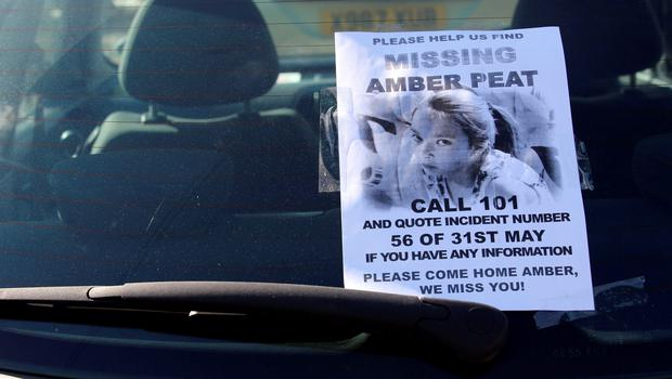 A poster on a car windscreen as near to the home of missing teenager Amber Peat in Mansfield. Chris Radburn/PA Wire