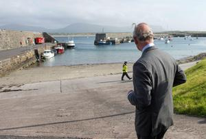 Prince Charles at the harbour in Mullaghmore, Co Sligo, where Lord Louis Mountbatten died