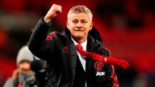 Ole Gunnar Solskjaer celebrates victory over Tottenham. Photo: Catherine Ivill/Getty Images