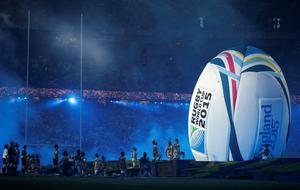 Artists perform during the opening ceremony of the Rugby World Cup. AFP PHOTO / ADRIAN DENNIS