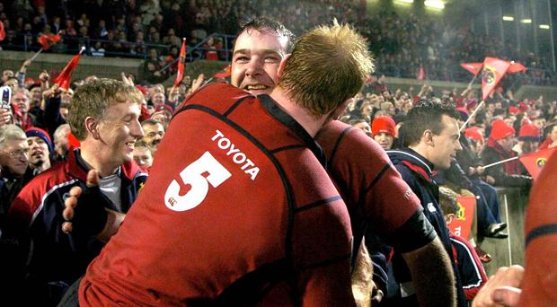 Anthony Foley celebrates another big European win at Thomond Park