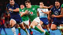 Garry Ringrose attempts to get away from the Scotland defence before being forced off through injury. Photo: Brendan Moran/Sportsfile
