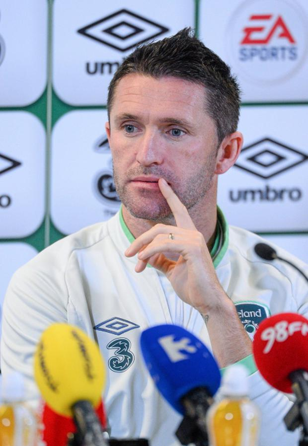 Republic of Ireland's Robbie Keane during a press conference ahead of their 2014 FIFA World Cup Qualifier, Group C, game against Kazakhstan