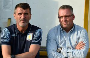 Aston Villa manager Paul Lambert and assistant Roy Keane. Martin O'Neill will be filly briefed on Jack Grealish's progress at Villa given the presence of his assistant Roy Keane as number two to Lambert (Photo by Michael Regan/Getty Images)