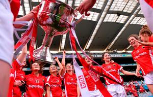 27 September 2015; Cork players celebrate after the game. TG4 Ladies Football All-Ireland Senior Championship Final, Croke Park, Dublin. Picture credit: Paul Mohan / SPORTSFILE