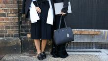 Loafers street style. (Photo by Caroline McCredie/Getty Images)