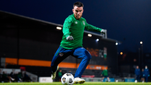 FRUSTRATED: Aaron Connolly during a Republic of Ireland training session at The Hive in Barnet, England