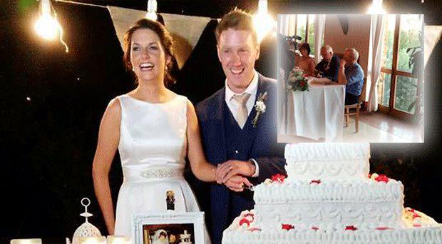 Bride Geraldine Smith and her new husband Michael were touched by an emotional song sung by her father at their wedding