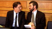 John Hume and Gerry Adams pictured at the Forum for Peace and Reconciliation in Dublin Castle, 1994. Photo: Eamonn Farrell/RollingNews.ie