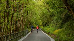 Rachael Conway with Padraig Fogarty at Tullig Wood on the Limerick Greenway