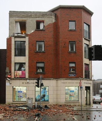 A building in Limerick suffers serious damage during the storm. Twitter credit: AlanEnglish9
