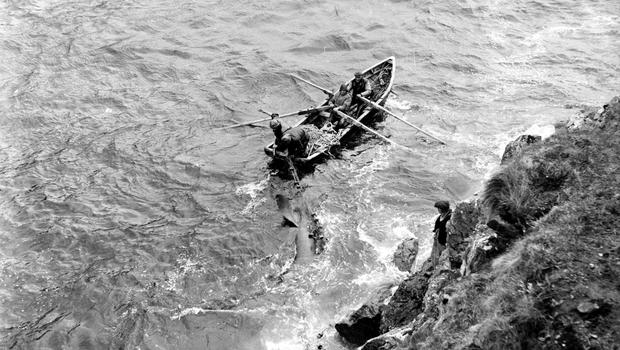 July, 1954:  Shark fishermen off Achill Island, County Mayo. Photo by Haywood Magee/Picture Post/Getty Images