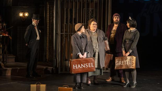 Night at the opera: Raphaela Mangan (Hansel), Miriam Murphy  (Mother), Ben McAteer (Father) and Amy Ní Fhearraigh (Gretel). Photo by Patrick Redmond