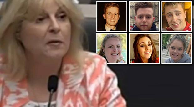 Jackie Donohoe speaks yesterday, and (inset) the six who died in Berkeley