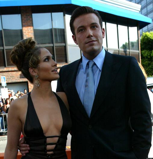 "Actors Ben Affleck and Jennifer Lopez attend the premiere of Revolution Studios' and Columbia Pictures' film ""Gigli"" at the Mann National Theatre July 27, 2003 in Westwood, California."