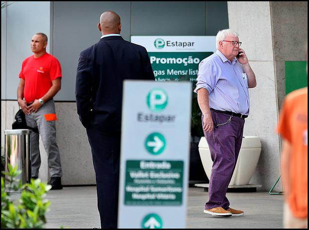 Dermot Heneghan (right) General Secretary of the OCI outside the Hospital Samaritano in Rio de Janeiro where Pat Hickey was being treated. Picture Steve Humphreys