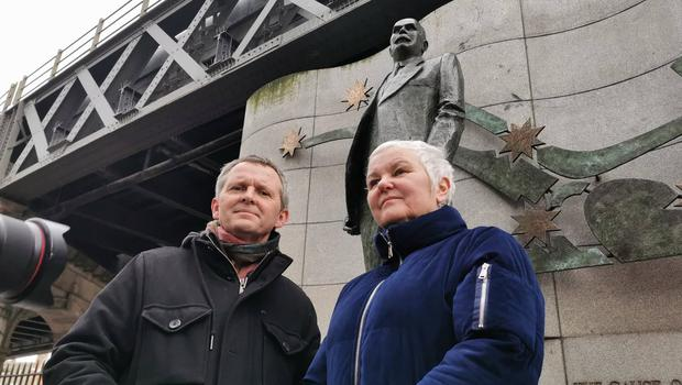 People Before Profit's Richard Boyd Barrett and Brid Smith in front of the James Connolly Memorial Statue at the launch of their Workers' Rights Charter (Photo: Mícheál Ó Scannáil)