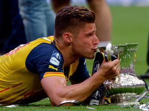 Arsenal's Olivier Giroud celebrates victory at the end of the FA Cup Final at Wembley Stadium