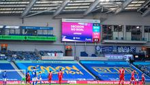 The big screen confirms the VAR decision to disallow Sadio Mane of Liverpool's goal during the Premier League match against Brighton & Hove Albion. (Photo by Neil Hall - Pool/Getty Images)