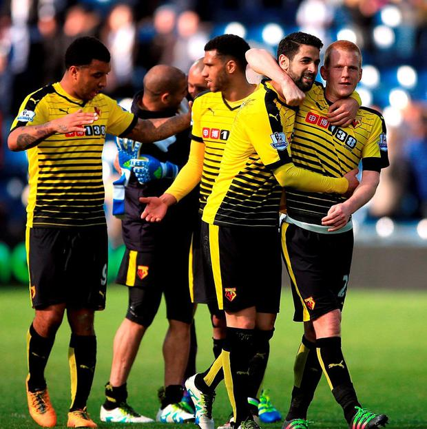 Watford goalscorer Ben Watson celebrates with team-mates after the final whistle. Photo: Nick Potts/PA Wire