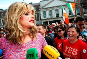 Drag queen and gay rights activist Rory O'Neill, known by his stage name as Panti Bliss arrives at the Central Count Centre in Dublin Castle, Dublin, as votes continue to be counted in the referendum on same-sex marriage.  Brian Lawless/PA Wire