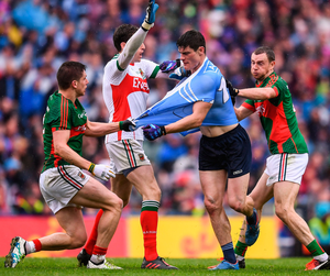 Diarmuid Connolly tussles with Lee Keegan as Mayo's David Clarke and Keith Higgins intervene in the 2016 All-Ireland final. Photo: Stephen McCarthy/Sportsfile