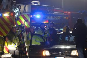 17/03/15. Members of the Dublin Fire Brigade attend to a road traffic accident in the Phoenix Park Dublin on St.Patricks night. Pic: Justin Farrelly.