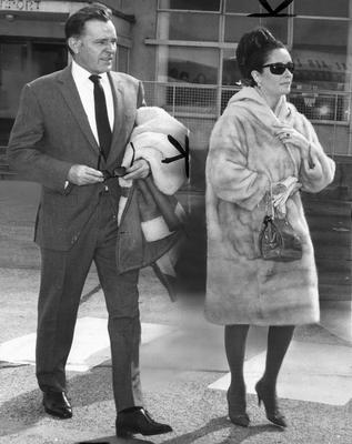 """Richard Burton and Elizabeth Taylor at Dublin Airport in April, 1965. The caption of the day ran: '""""On a farm, I could not hear of anything being killed"""" did not stop her wearing fur.' Photo by SSPL/Getty Images"""