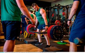 29 September 2015; Ireland's Cian Healy during a gym session at training. Ireland Rugby Squad Training, 2015 Rugby World Cup, Surrey Sports Park, University of Surrey, Guildford, England. Picture credit: Brendan Moran / SPORTSFILE