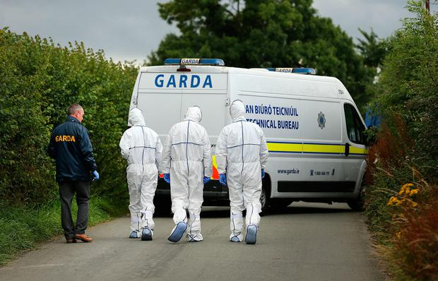 Gardai at the scene near Ballyboughal in north Co. Dublin where the remains of a man were discovered in a ditch at the side of the road. Picture; Gerry Mooney