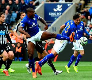 Leicester City's Wes Morgan scores his team's second goal