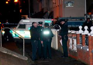 Police officers at the scene of a shooting incident in the Norglen Parade area of west Belfast on 12th January 2017 (Photo - Kevin Scott / Belfast Telegraph)