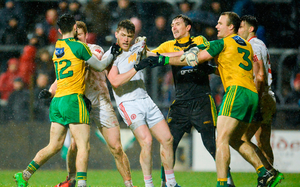 Players from Donegal and Tyrone in dispute
