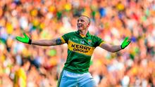 Kieran Donaghy, Kerry, celebrates after scoring his side's second goal. GAA Football All Ireland Senior Championship Final, Kerry v Donegal. Croke Park, Dublin. Picture credit: Stephen McCarthy / SPORTSFILE