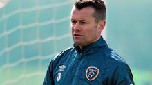 Shay Given in action during training