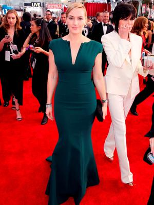 Kate Winslet arrives at the 22nd annual Screen Actors Guild Awards at the Shrine Auditorium & Expo Hall on Saturday, Jan. 30, 2016, in Los Angeles. (Photo by Matt Sayles/Invision/AP)