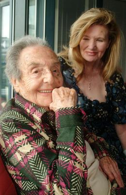 Alice Herz-Sommer, believed to be the oldest-known survivor of the Holocaust, who died in London on Sunday morning at the age of 110, pictured in this Aug. 2007 photo with Caroline Stoessinger who compiled Herz-Sommers' memories in a book, A Century of Wisdom