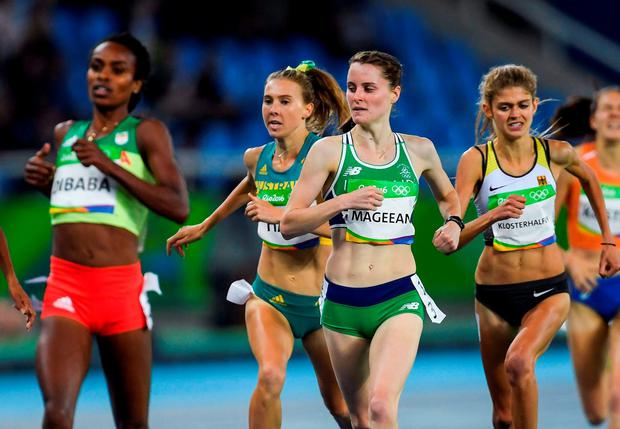 Ciara Mageean of Ireland crosses the line to finish second in round 1 of the Women's 1500m in the Olympic Stadium, Maracanã, during the 2016 Rio Summer Olympic Games in Rio de Janeiro, Brazil. Photo by Ramsey Cardy/Sportsfile