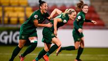 Ireland's Diane Caldwell, right, celebrates with team-mate Rianna Jarrett after scoring the opening goal during the UEFA Women's 2021 European Championships qualifier against Greece at Tallaght Stadium. Photo: Stephen McCarthy/Sportsfile