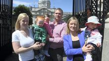 Jennifer Hanlon,and her 15-month-old  son Jack, Lorcán Brennan with daughter 2-year-old Thea and Lorna Fitzpatrick with daughter Orla, 10 months, at the Our  Children's Health campaign protest at Government Buildings yesterday. Picture: Tom Burke 27/5/14
