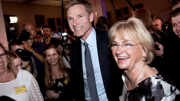 Party Leader Kristian Thulesen Dahl and former party leader Pia Kjaersgaard arrive at the election party in Snapstinget at Christiansborg, June 18, 2015, on election day. REUTERS/Linda Kastrup/Scanpix Denmark