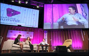Stephen Rae, Editor in Chief at Independent at Independent News and Media chats with Tanya Cordrey from The Guardian and Emily Steel from the New York Times (LEFT) about 'A new commercial model for news' at the Web Summit at the RDS