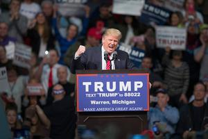 Rallying the troops: Donald Trump gives a rousing speech to stir up the crowd during his election campaign. Photo: Scott Olson/Getty Images