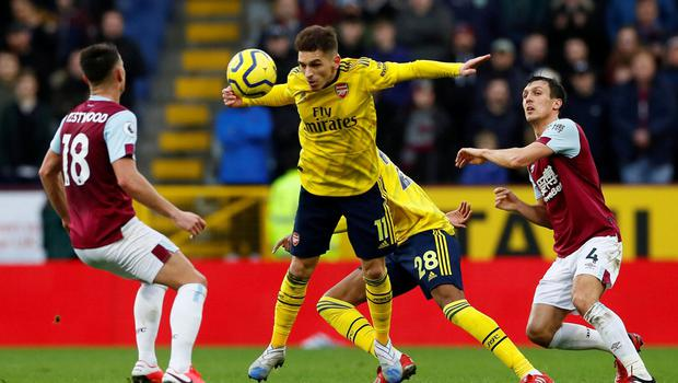 Arsenal's Lucas Torreira in action with Burnley's Jack Cork and Ashley Westwood. Photo: Jason Cairnduff/Action Images via Reuters
