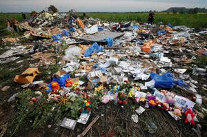 Flowers and mementos left by local residents at the crash site of Malaysia Airlines Flight MH17 are pictured near the settlement of Rozspyne in the Donetsk region in this July 19, 2014 photo. All 298 passengers and crew were killed. The Dutch government, a leading Russian trading partner, still hesitates to call it an attack (REUTERS/Maxim Zmeyev)
