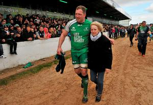 Connacht's Michael Swift with his mother Francis after the game against Ospreys
