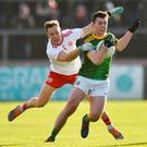 James McEntee of Meath in action against Kieran McGeary of Tyrone during the Allianz Football League Division 1 Round 1 match between Tyrone and Meath at Healy Park in Omagh, Tyrone. Photo by Oliver McVeigh/Sportsfile