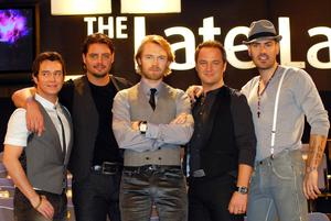 Boyzone members Stephen Gately, Keith Duffy, Ronan Keating, Mikey Graham and Shane Lynch attend RTE's The Late Late Show at RTE Studios on November 23, 2007 in Dublin, Ireland. (Photo by ShowBizIreland/Getty Images)